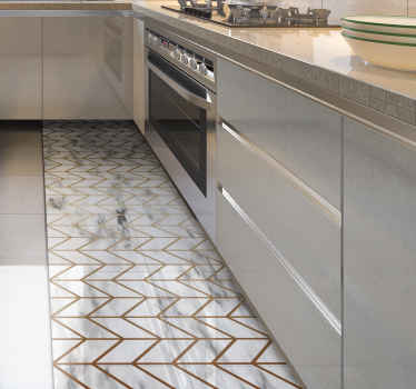 Kitchen marble vinyl rug which features a brilliant geometric gold pattern surrounded by a black and white marbled background.