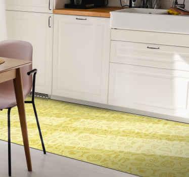 Winylowy dywanik kuchenny z rysunkami przedstawiającymi wiele różnych rodzajów potraw, takich jak hamburgery, arbuz i pizza. Wysoka jakość.