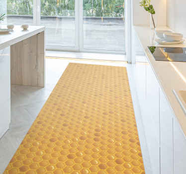 Honeycomb vinyl rug. This pattern presents yellow honeycomb and it is square-shaped. You can choose any size. Made of high quality vinyl.