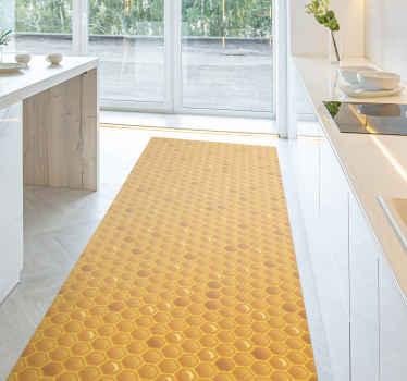 Petek vinil halı. Bu desen sarı bal peteği sunar ve kare şeklindedir. Herhangi bir boyut seçebilirsiniz. Yüksek kaliteli vinilden yapılmıştır.