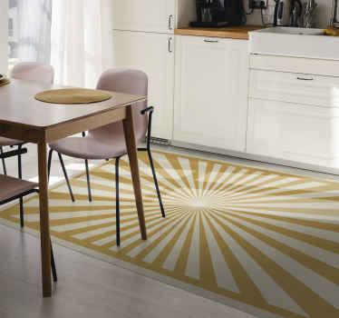 Esta alfombra vinilo moderna con un diseño de sol abstracto sobre fondo amarillo. Tiene un color muy sutil y sin duda se adaptará a cualquier estancia