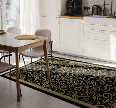 Vinyl rug with gold ornaments. It presents gold ornaments on a black background and will be a perfect decoration for your kitchen.