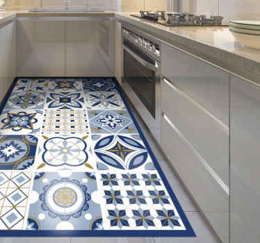 кухонный виниловый коврик с потрясающим рисунком из больших квадратных плиток, каждая из которых имеет уникальный дизайн внутри. выберите свой размер.