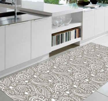 Alfombra vinilo moderna de hojas grises ruskin en negro, blanco y gris lleno de modernidad que le dará un toque de elegancia a tu cocina