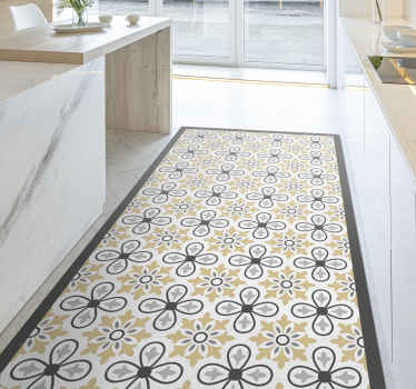 Kitchen vinyl rug which features a beautiful vintage style pattern which incorporates flowers into its design. Personalised.