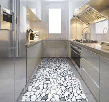 Keuken stenen vinyl tapijt met een patroon in verschillende tinten grijs, wit, bruin en zwart met een zwarte achtergrond.