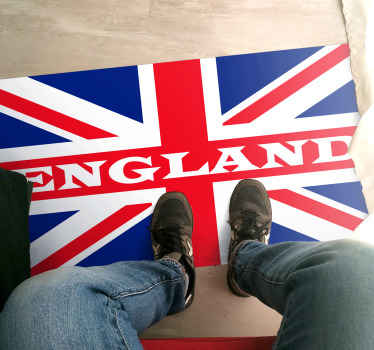 England vinyl rug which features a flag of the United Kingdom with the word 'England' printed across the middle. Discounts available. High quality.