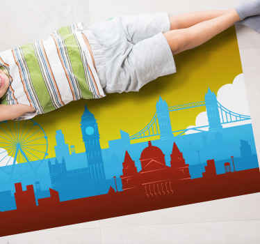 London skyline vinyl rug which features an image of London's skyline including Big Ben, the London Eye and houses of Parliament.