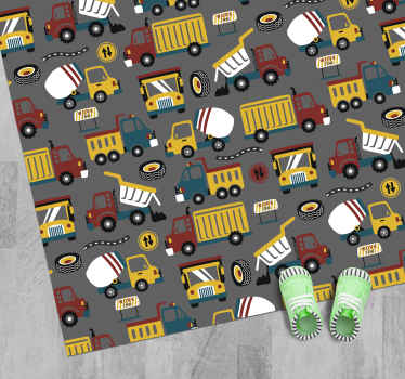 Alfombra vinilo infantil con diseño de edificio de ciudad y calle con camiones y tractores, ideal para decorar la habitación de tu hijo