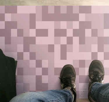Alfombra vinilo moderna rosa de cuadrados rosados que se asemejan a píxeles gráficos. Está hecho de material de alta calidad.