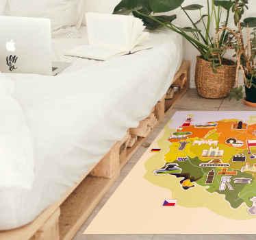 Dywan na podłogę winylową, który byłby świetnym pomysłem na upiększenie przestrzeni w pokoju. Na wykładzinie znajduje się mapa projektowa polski z różnymi budynkami.