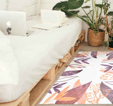 Alfombra vinílica moderna con un hermoso diseño de flores decorativas en diferentes colores que pueden dar un efecto maravilloso en tu hogar