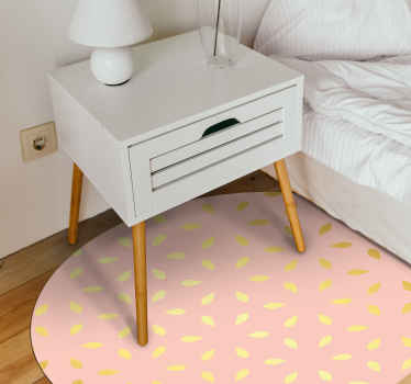 Pink home office vinyl rug with gold colored leaves or flowers detail that gives a luxurious and elegant touch to your office. Easy to apply.