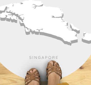"""新加坡黑胶地毯,上面贴着新加坡地图的白色图像。图片下方有文字"""" singapore""""。"""