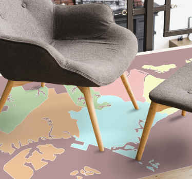 Beautiful lounge vinyl carpet with designed map of Singapore. The carpet contains map of Singapore illustrating it various geographical areas.