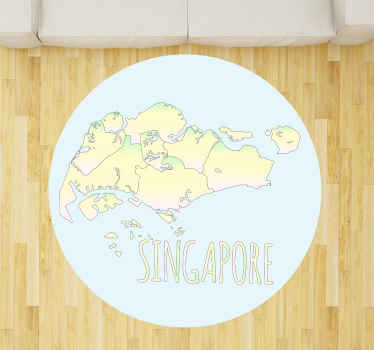 Watercolor Singapore map vinyl rug suitable for a living room floor decoration, office, guest room and any other space of choice.