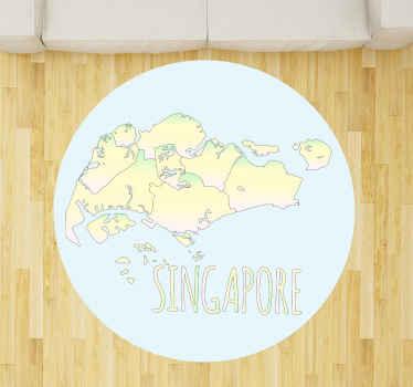 水彩新加坡地图乙烯基地毯适用于客厅地板装饰,办公室,客房和其他任何选择的空间。