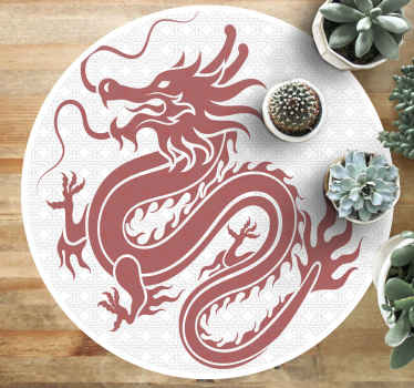 An original white background vinyl rug designed with Tibetan dragon that you would love especially if you love dragons. The carpet is easy to maintain
