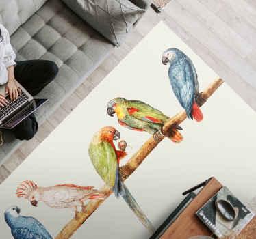 Dywan winylowy z papugami. Przedstawia różne kolorowe papugi siedzące na gałęzi. Jest wykonana z wysokiej jakości winylu i możesz wybrać dowolny rozmiar.