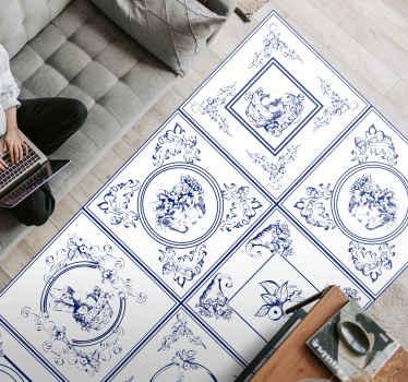 Vintage-vinylböden für Sie, um jeden Raum, den sie renovieren möchten, mit blauem fliesendesign mit weißem Hintergrund zu dekorieren, perfekt, um vintage-stil zu verleihen
