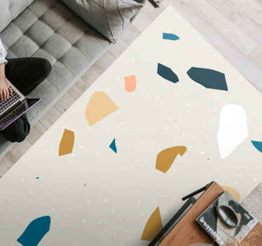 Abstract Nordic vinyl rug which  features a stunning image of abstract shapes coloured in brown, pink, blue and white. High quality.