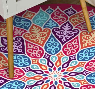 Alfombra vinilo mandala multicolor para animar cualquier espacio con un aspecto brillante y brillante. Es duradera y fácil de mantener.
