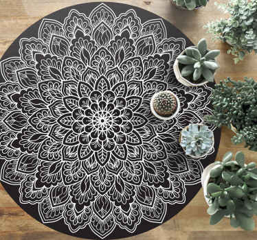 You would fall in love with the way this black and white mandala mandala vinyl rug would enhance you space. It is easy to maintain and durable.