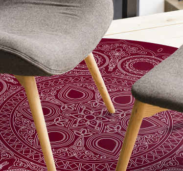 Round-tip lotus flower mandala vinyl rug prefect to decorate any area in a house. It has a lovely patterned mandala design on solid red background.