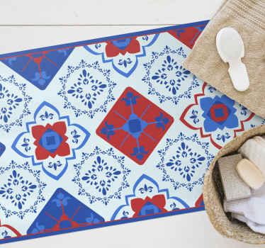 Hermosa alfombra vinilo cocina con un increíble y colorido diseño de flores estampadas. Ideal  para cocina, dormitorio y cualquier otra estancia