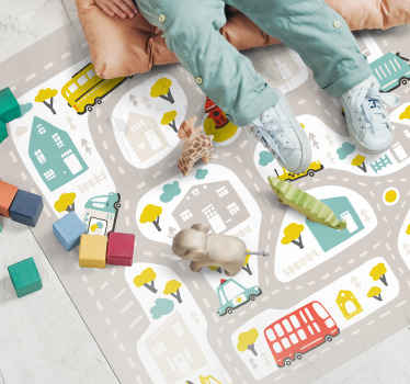 Imagine how happy your kid would feel sitting or playing on this kids vinyl carpet featured with various illustrative designs loved by kids.