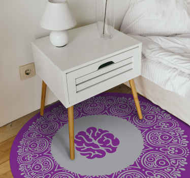 A wonderful brain mandala vinyl rug to decorate your floors with more character! Super easy vinyl to clean and maintain.