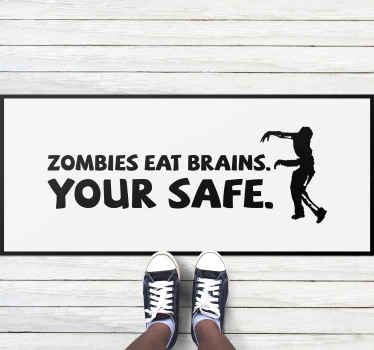 A hilarious zombie text vinyl rug that will make all your guests laugh so much! Amazing discounts available online today!