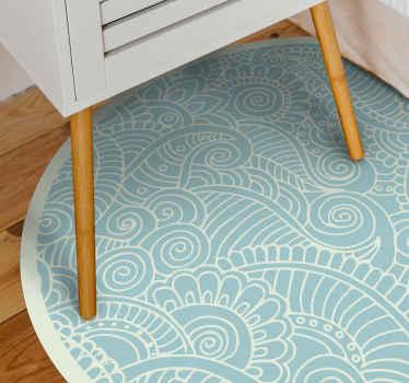 Alfombra vinilo mandala ornamental azul. Presenta adornos florales blancos sobre un fondo azul brillante. Fabricado con materiales de alta calidad