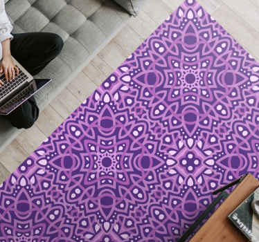 Vinyl rug with purple mandala. It presents a purple ornametal tiles in rectangular shape. Made of high qulaity materials.