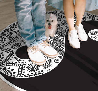 Vinyl rug ying yang mandala. The pattern shows ying yang ornamental shape. It is easily cleanable. Check it out yourself!