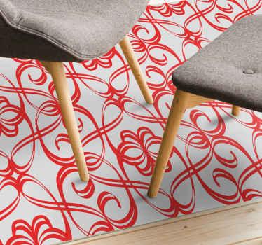 Alfombra vinilo moderna ornamental rojo. El patrón muestra diferentes líneas onduladas sobre un fondo gris ¡Hecha de material de alta calidad!