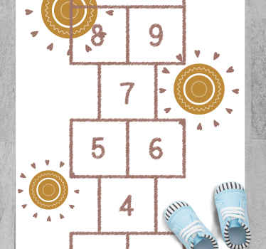 Kids vinyl rug which features an image of a classic hopscotch game surrounded by suns. Discounts available. High quality.