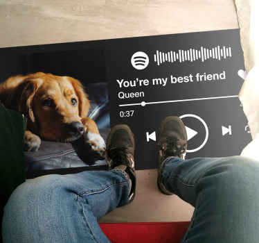 You can now decorate your floor space with our personalized Spotify music playing vinyl carpet. Certainly a flooring vinyl carpet for music lovers.