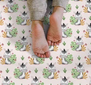 Alfombra vinilo infantil de cebras y plantas con un fondo claro para que la habitación de tus hijos luzca increíble ¡Tu hijo no dejará de sonreír!