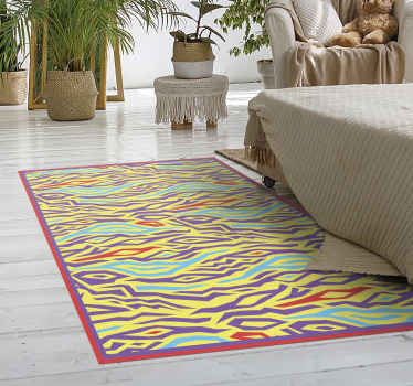 Vinyl rug with colorful animal print. This decorative item is made of high quality vinyl. Easy to clean and store. Check it out!