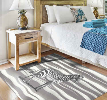 Vintage zebra illustration vinyl carpet with animal print as background and a zebra in the middle of the product. Rectangular shape!