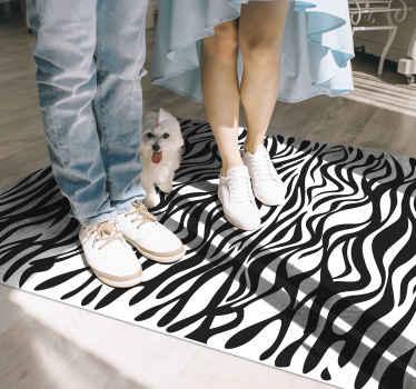 Schöner und langlebiger schwarz-weißer Vinyl Teppich mit zebradruck, der für jeden Raum geeignet ist. Es ist original, langlebig und pflegeleicht.