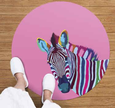 Tenga una hermosa obra de arte como decoración para mirar hacia abajo todas las mañanas con esta hermosa alfombra vinilo animales de cebra