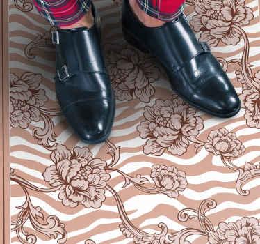Magnifique tapis en sticker imprimé zèbre et floral adapté pour décorer n'importe quel espace de la maison. Il est original, durable et très facile à nettoyer.