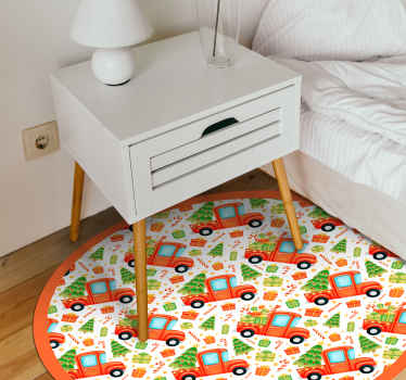 Decore la habitación de sus hijos con un aspecto divertido e interesante con nuestra alfombra vinilo infantil de camión con árbol de navidad