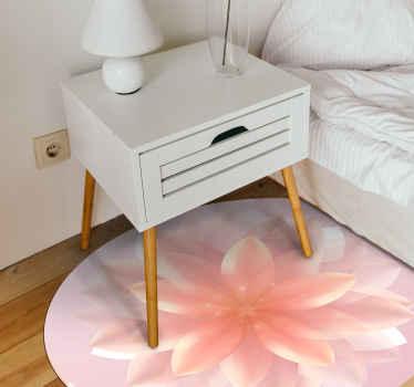 Preciosa alfombra vinilo dormitorio de loto rosa redonda para decoración del hogar y otros espacios. Se puede colocar en cualquier estancia