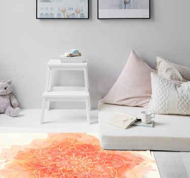 Alfombra vinilo mandala de color rosa para decorar cualquier parte de una casa. Es duradero, fácil de limpiar y está disponible en varios tamaños.