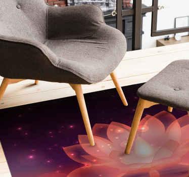 Una increíble alfombra vinilo morada con flor de loto en apariencia gráfica. Fácil de mantener y muy duradera. Disponible en cualquier tamaño