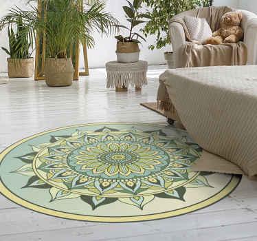Con esta hermosa alfombra vinilo mandala verde estarás decorando tu lugar con un aspecto ético interesante. Fácil de limpiar y muy duradero