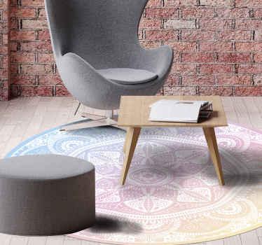 Alfombra vinilo mandala finamente diseñada con un patrón de colores. Te encantará y es resistente, original y fabricado con material de calidad